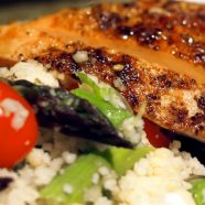 Chipotle Chicken and Lemon-Asparagus Couscous with Tomatoes, Feta and Mint